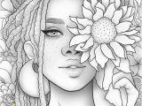 Black Art Black Girl Coloring Pages Printable Coloring Page Black Girl Floral Portrait