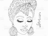 Black Art Black Girl Coloring Pages Vector Coloring Portrait A Beautiful African Girl In A