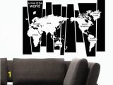 Black Art Wall Murals 105 75cm Map Wall Sticker Murals Pvc A Map World Lettered Wall Art Decals for Living Room Study and Fice Decoration Removable Black Wall