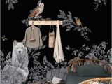 Black Art Wall Murals Dark Enchanted forest Wall Mural Vintage Wild Animals