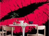 Black Art Wall Murals Pink Lips Black Wall Mural Wallpaper Art In 2019