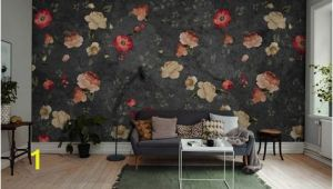 Black Floral Wall Mural Black Red Green Grunge Little Floral Wallpaper Mural
