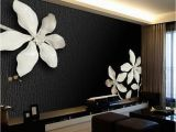 Black Floral Wall Mural Custom Any Size 3d Wall Mural Wallpapers for Living Room