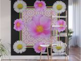 Black Floral Wall Mural Modern Art Style Shasta Daisy Pink Roses Black Color Abstract Art Wall Mural by Sharlesart