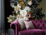 Black Floral Wall Mural Removable Wallpaper Floral Wall Mural Peel and Stick