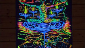 "Blacklight Wall Murals Psy Backdrop ""antimaterial"" Uv Blacklight Tapestry Glow Visionary"