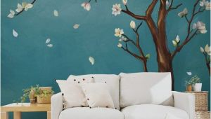 Blossom Tree Wall Mural Hand Painted E Magnolia Tree Flowers Tree