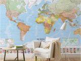 Blue World Map Wall Mural 3d Room Wallpaper Custom Photo Mural Non Woven Wall Sticker