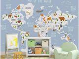 Blue World Map Wall Mural 3d Wallpaper Custom Photo Mural Cartoon World Animal Map Background Wall Home Decor Living Room 3d Wall Murals Wallpaper for Walls 3 D