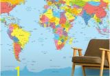Blue World Map Wall Mural Colourful World Map In 2019 Kids Space