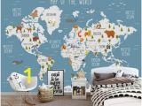 Blue World Map Wall Mural Custom Wallpaper Cartoon World Map Tv Background Wall Living Room Bedroom Children Room Background 3d Wallpaper Murals