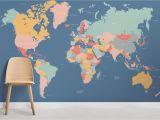 Blue World Map Wall Mural Navigator World Map Wallpaper Mural