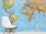 Blue World Map Wall Mural White and Natural Colour World Map Mural