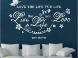 Bob Marley Wall Mural Bob Marley Quote Flower butterfly Wall Decals Decor Love Life Word Sticker