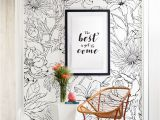 Botanicals Floral Wall Mural Botanical Garden Hand Drawn Flowers Mural Wall Art Wallpaper