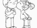 Boy and Girl Kissing Coloring Pages Valentine S Day Colouring Cards