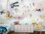 Boys Bedroom Wall Mural Hot Air Balloons Airplane Wallpaper Murals with Flower Bird