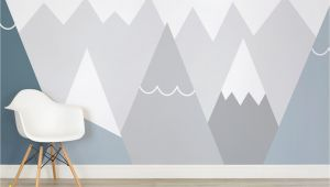 Boys Bedroom Wall Mural Kids Blue and Gray Mountains Wall Mural