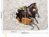 Brick Wall Murals Wallpaper Horse forest Brick Wall Hole Brown Wall Mural