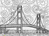Bridge Coloring Pages for Kids Printable Coloring Page Zentangle Mackinac island Coloring