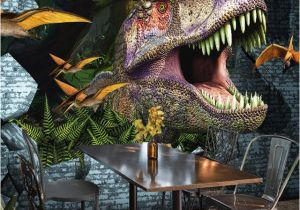 Broken Concrete Wall Mural 3d Wallpaper Animal Dinosaur Broken Wall Mural Restaurant Cafe