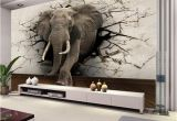 Broken Concrete Wall Mural Custom 3d Elephant Wall Mural Personalized Giant Wallpaper