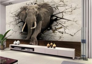Broken Concrete Wall Mural Custom 3d Elephant Wall Mural Personalized Giant Wallpaper