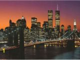 Brooklyn Bridge Black and White Wall Mural Manhattan at Dusk Brooklyn Bridge Poster 24×36 In 2019