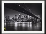 Brooklyn Bridge Black and White Wall Mural New York New York Manhattan Skyline by Henri Silberman