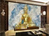 Buddha Wall Mural Wallpaper Custom Hand Drawn Vintage Colored Golden Buddha Statue Mural