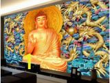 Buddha Wall Mural Wallpaper Gold Embossed Dragon Wall Mural Golden Buddha Wallpaper 3d Wallpaper Bedroom Living Room Ceiling Hotel Restaurant Buddhism Art Room Decor