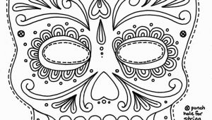 Calavera Mask Coloring Page Sugar Skull Coloring Pages
