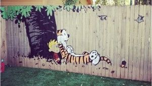 Calvin and Hobbes Mural Calvin and Hobbes Fence Painting Cool Stuff Pinterest