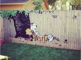 Calvin and Hobbes Nursery Mural Calvin and Hobbes Fence Painting Cool Stuff Pinterest