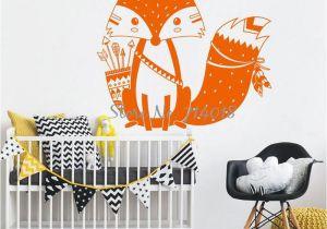 Camouflage Wall Murals God Tribal Fox Wall Decal Cute Woodland Fox Wall Sticker for Kids