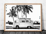Campervan Wall Mural Vintage Coastal Graphy Print Retro Bus Van Camper and Black