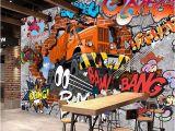 Car Murals for Walls 3d Broken Brick Wall Graffiti Cartoon Cars Mural for Restaurant Boys