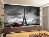 Car Murals for Walls France Paris Eiffel tower Retro Car Wall Mural Wallpaper Giant