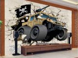 Car Wall Murals Uk Custom Mural Wallpaper Cartoon Car Broken Wall 3d Creative Art Wall