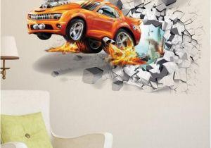 Car Window Murals 3d Creative Car Wall Stickers Wall Break Racing Car Wall Paper Vinyl