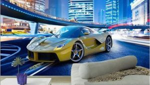 Cars 2 Wall Mural Cool Yellow Sports Car City Night Landscape 3d Wall Mural Wallpaper