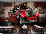 Cars 2 Wall Mural Vintage Brick Wall Paper Retro Red Car Wallpaper Mural