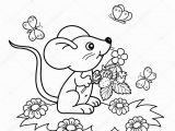 Cartoon butterflies Coloring Pages Coloring Page Outline Cartoon Little Mouse with Strawberries In