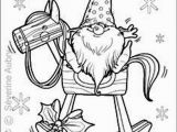 Cartoon Christmas Coloring Pages tomte On Rocking Horse