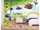 Cartoon Murals On the Wall Custom 3d Silk Mural Wallpaper Big Tree Scenery Fresh Children S Room Cartoon Background Mural Wall Sticker Papel De Parede Designer Wallpaper