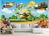 Cartoon Murals On the Wall Großhandel 3d Wallpaper Auf Einer Wand Benutzerdefinierte Fototapete Cartoon Flugzeug Kinderzimmer Dekoration 3d Wandbilder Wallpaper Für Wände 3 D
