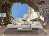 Castle Stone Wall Mural Großhandel Das Loch Wandbild Tapete 3 D Wohnzimmer Das Schlafzimmer Tv Einstellung Wandtapete Familie Tapete Für Wände 3 D Von tongxunbei66 $24 13