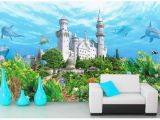 Castle Wall Art Mural Wdbh Custom 3d Wallpaper Ocean Dolphin Underwater Castle Background Home Decor Living Room 3d Wall Murals Wallpaper for Walls 3 D Free Wallpaper
