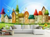 Castle Wall Mural Wallpaper Us $8 85 Off Beibehang Wall Paper for Kids Room Castle Colorful Castle Cartoon Children Room Cartoon Background Wall Mural 3d Wallpaper In