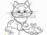 Cat and Mouse Coloring Pages Coloring Page Outline Cartoon Cat toy Stock Vector Royalty Free